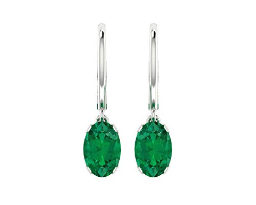 Euforia Jewels 14K White Gold Top Quality Natural Emerald 6X4 MM Oval Cut Leverback Earrings For Women