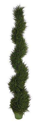 House of Silk Flowers Artificial Juniper Spiral Topiary, 6' (Spiral Juniper)