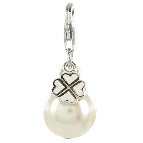 Quiges Fashion Jewellery Charms Argent Couche Perle avec Trèfle