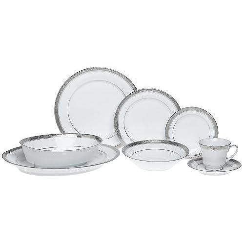 Noritake Crestwood Platinum - 50 piece set service for eight  sc 1 st  Amazon.com & Fine Porcelain China Dinnerware: Amazon.com
