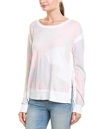 525 America Cotton Sweater - 525 America Womens Camouflage Sweater, L, Pink