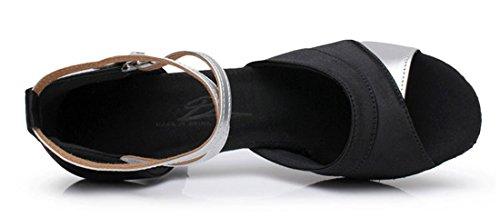 Tda Femmes Confortable Peep Toe Boucle Satin Salsa Tango Samba Chaussures De Danse Latine Moderne 7cm Noir Argent