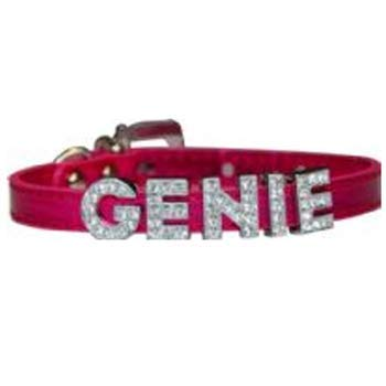 Cha-Cha Couture Foxy Metallic Slide Dog Collar - Hot Pink (10-12