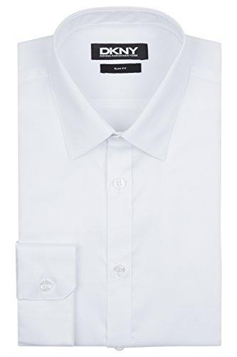 DKNY Men's Slim Fit White Single Cuff Oxford Shirt 16½ - Dkny White Shirt