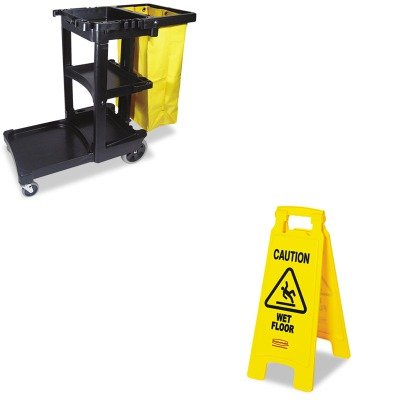 KITRCP611277YWRCP617388BK - Value Kit - Rubbermaid Cleaning Cart with Zippered Yellow Vinyl Bag, Black (RCP617388BK) and Rubbermaid Caution Wet Floor Floor Sign (RCP611277YW)