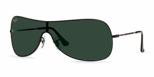 Ray Ban 3211, Rb3211 006 71 Matte Black Frame Dark Green Shield Lens  Sunglass c8121731cc96