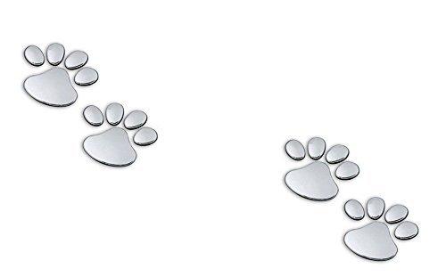 2 Pairs of Metal 3D Bear Dog Cat Animal Paw Foot Print Car Window Bumper Body Decal Sticker Chrome