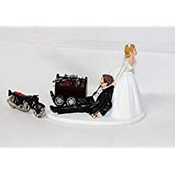 Wedding Motorcycle Biker Garage Mechanic grease Cake Topper