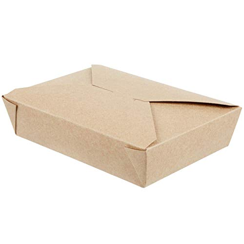 49 OZ 8.5 x 6 x 2 Disposable Paper Take Out Food Containers, Microwaveble Folding Natural Kraft To Go Boxes #2 [50 Pack] ()