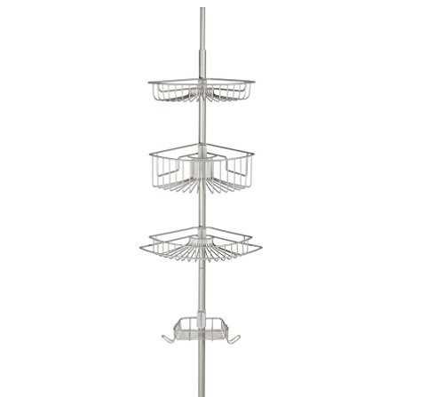 Richards Homewares Bathtub Shower 4 Tier Tension Corner Pole Caddie - Satin Nickel  with Stainless Steel Baskets Accessory Storage - Extendable to 108
