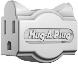 Hug-A-Plug Grounded Right Angle Adapter Plug - White [15a 125v Current Tap] ()