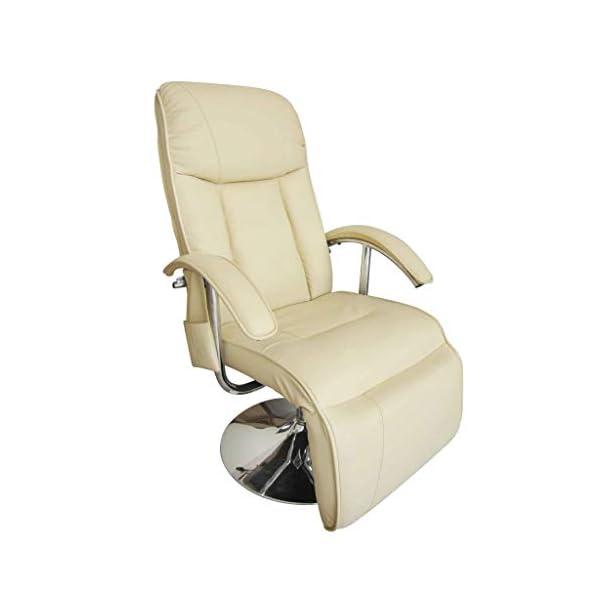 vidaXL Fauteuil Massage Électrique Cuir Artificiel Crème Fauteuil Relaxation