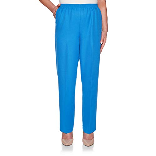 Alfred Dunner Women's 2019 Classics Proportioned Short Poly Pant (18 Short, Ultramarine)
