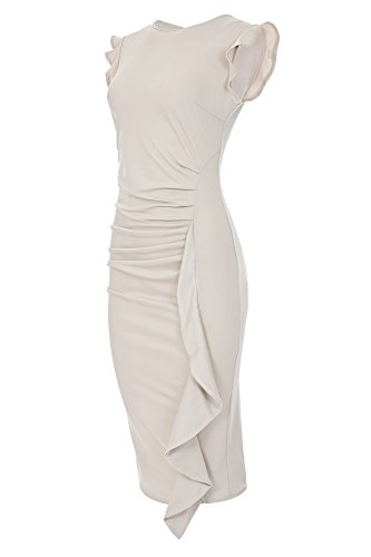 07e44f9a655c Laeticia Dreams Elegantes Damen Kleid Volant Etuikleid Wadenlang S M L XL  Beige zw48Z
