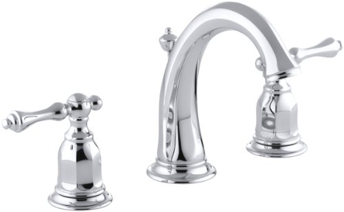 KOHLER Kelston K-13491-4-CP 2-Handle Widespread Bathroom Faucet with Metal Drain Assembly in Polished Chrome