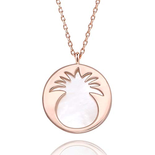 - Lancharmed Reversible Mother of Pearl Pineapple Pendant Necklace Disc Round Necklaces Wrap Gift for Girls Womens &Teens (Rose Gold(Mother of Pearl))