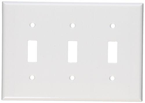 Leviton 88011 3-Gang Toggle Device Switch Wallplate, Standar