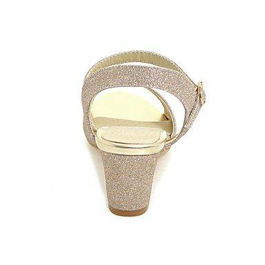 pwne Tacones Mujer Confort Material Personalizado Casual Verano Chispeante Glitter Chunky Talón Plateado Oro Negro 2A-2 3/4 Pulg. US9.5-10 / EU41 / UK7.5-8 / CN42