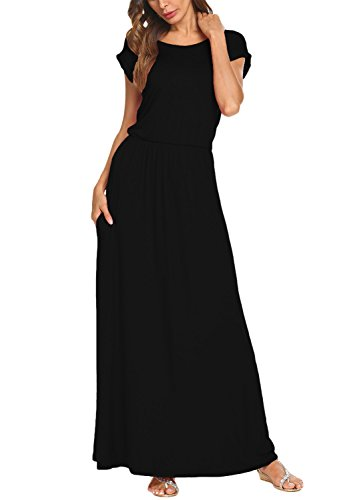 BLUETIME-Womens-Short-Sleeve-Maxi-Dress-With-Pockets-Plain-Loose-Pleated-Swing-Casual-Long-Dresses