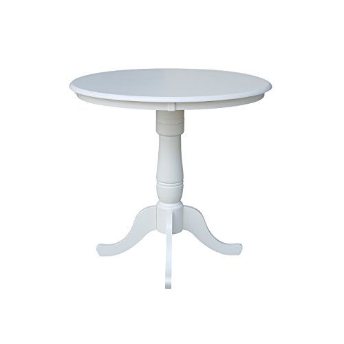 International Concepts 36-Inch Round by 36-Inch High Top Ped Table, Linen White (Round 36 Inch Counter)