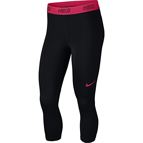 NIKE Women's Victory Training Capris, Black/Black/Racer Pink, Medium
