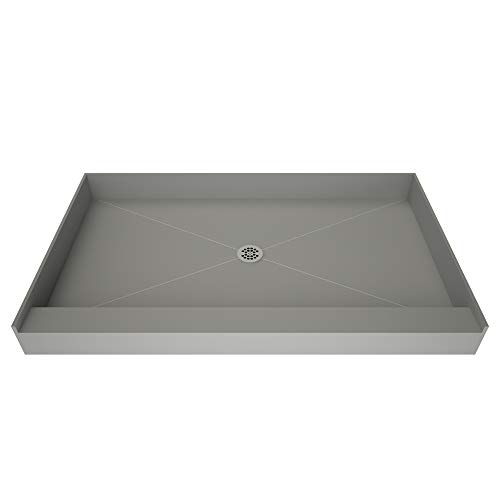 - Redi Base Integrated Shower Pan with Center Drain - Single Curb, Polished Chrome, 2-Inch PVC Drain and Plate Included, 48