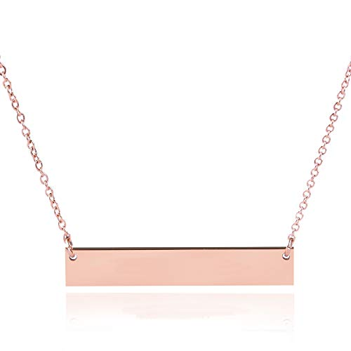 Caramel Sweet Life Chic Polished Stainless Steel Rose Gold Tone Horizontal Bar Necklace Pendant 5 Colors with Chain (Rose Golden (No Engraving))
