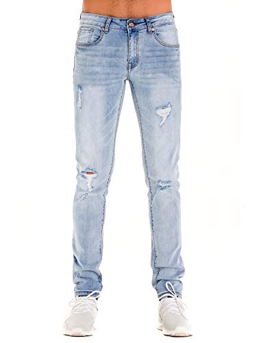 HONTOUTE Men's Vintage Ripped Jeans 5-Pocket Sim Fit Mid Waist Athletic Denim Tapered Jeans Light Blue 32 ()