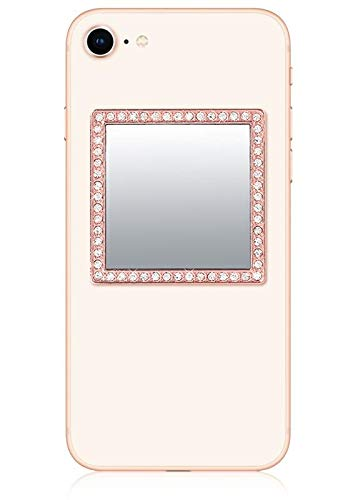 iDecoz Phone Mirror/Sticks on The Back of Your Phone or case. The Replacement for The Compact Mirror. It's The Best Way to Check Yourself Out On-The-Go! (Rose Gold) (On Case The Back)