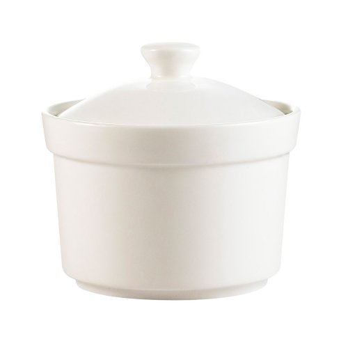 CAC China CAS-B10 10-Ounce Porcelain Round Soup Bowl with Lid, 4 by 2-3/8-Inch, Super White, Box of 24 by CAC China