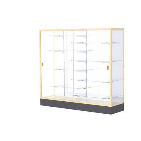 Aluminum Waddell Frame (Waddell Manufacturing Company Waddell 2606-WB-GD Colossus 72 x 66 x 20 in. Aluminum Frame Floor Display Case with Black Laminate Base44; White Back - Champagne Gold)