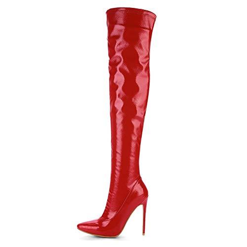 Neve Piattaforma Autunno A 14cm yc Ginocchio Ballroom Red Stivali Alla Tacco L Pu Punta Chiusa Invernale Caviglia Donna xOwqB8Uxz4