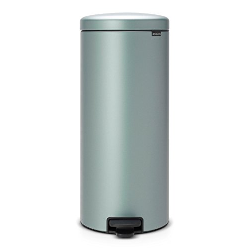 Brabantia Step Trash Can newIcon with Plastic Inner Bucket, 8 Gal. - Metallic Mint (Receptacle Trash Plastic)