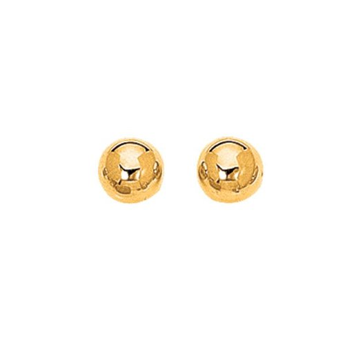 14K Yellow Gold 10.0mm (3/8'') Shiny Ball Post Earrings by BillyTheTree Gold Jewelry