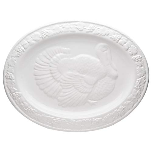 - Classic Oval White Turkey Portrait Serving Platter Italian Design Ceramic Fall Entertaining Holiday Decorative Cream Ivory Autumn Textured Print Leaf Plant Floral Accent Bird Dinner Plate Dinnerware