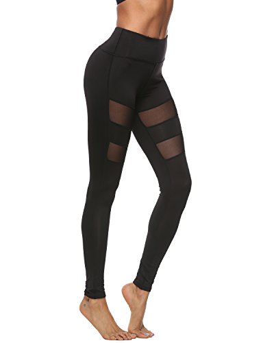 SOUTEAM Women's Mesh Workout Sports Pants Gym Yoga