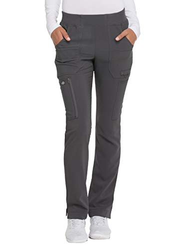 - Dickies Advance Solid Tonal Twist Women's DK195 Mid Rise Tapered Leg Pull-on Pant (Pewter, XX-Small)