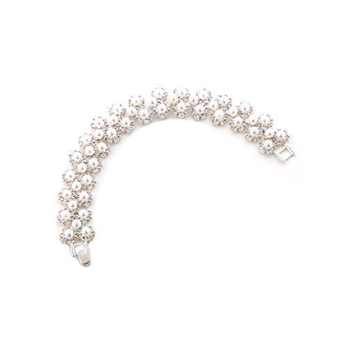 Topwholesalejewel Bridal Bracelet Silver Crystal Circle Rhinestone White Pearl Link Bracelet