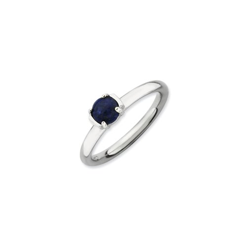 (Silver Stackable Blue Lapis Ring, size 10)