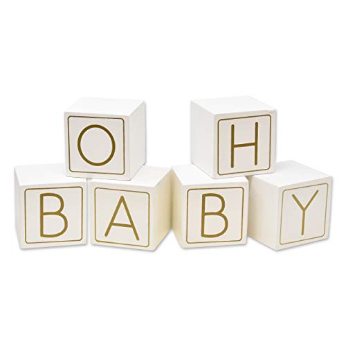 """Oh Baby Shower Wooden Blocks Guestbook Decor 6 Piece White & Gold Babies Guest Book Wood Block Table Top Centerpiece Keepsake 6.3"""" Letter Cube Neutral Girl Boy Gender Reveal Game Party Favor Supplies"""