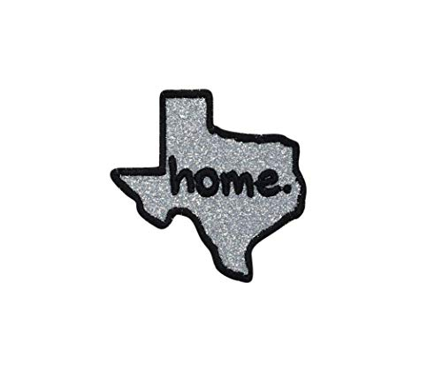 Texas - Home State - Silver Glitter/Black Outline - Iron on Applique/Embroidered Patch (Texas Glitter)