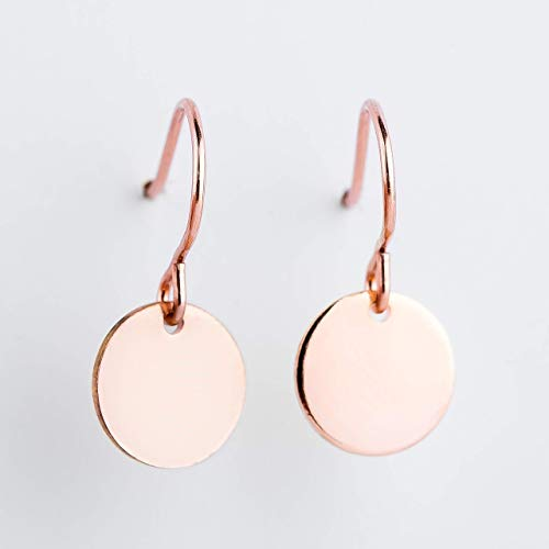 14k Rose Gold Earrings - 14K Rose Gold Fill Round Circle Disc dangle drop Earrings