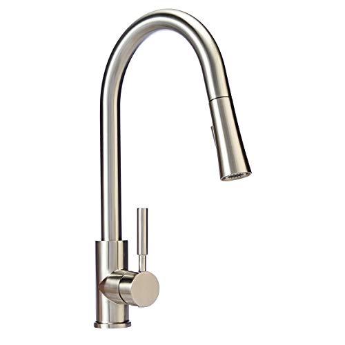 (AmazonBasics Modern Single-Handled Kitchen Pull-Down Sprayer Faucet, Satin Nickel)