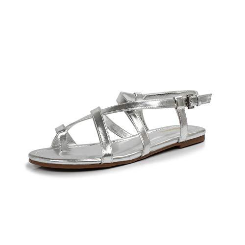 DUNION Women's Abrief Rhinestones Strappy Gold Flat Sandal Summer Silver Prom Wedding Shoes,Silver,8 B(M) US
