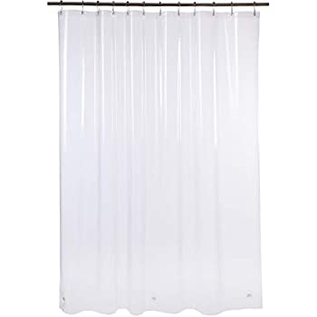 Amazer Shower Curtain 72 W X H Clear EVA 8G Mildew Resistant Thick Bathroom Curtains No Smell With Heavy Duty Stones Rustproof Grommets