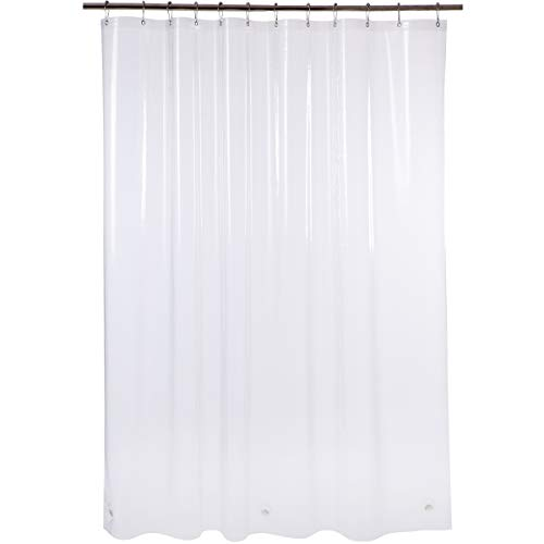 Amazer Shower Curtain, 72' x 72' Clear EVA 8G Mildew Resistant Thick Bathroom Shower Curtains No Smell with Heavy Duty Clear Stones & Rustproof Grommets Holes