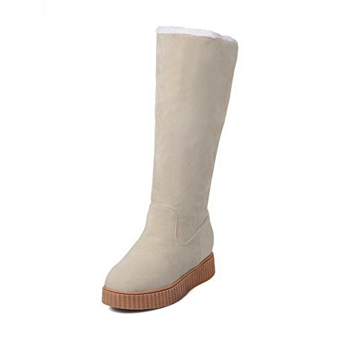 Allhqfashion Womens High-top Solid Pull-on Ronde Gesloten Neus Lage Hakken Snow-boots Beige