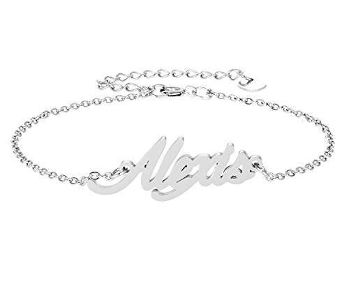 HUAN XUN Alexis Name Bracelet for Womens Girls Jewelry Gifts Stainless Steel ()