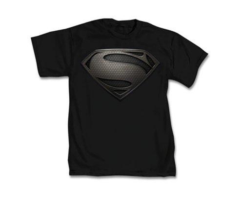 DC Comics Superman Man Of Steel Silver Logo T-Shirt Black X-Large