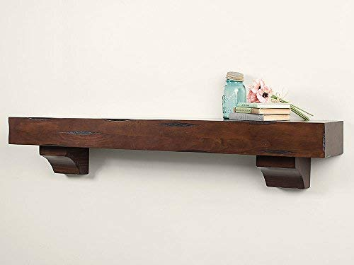 Breckenridge 48-inch Fireplace Mantel Shelf - Cherry Rustic - Cherry Faux Finish Distressed